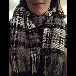 Black, Grey, White, & Garnet Striped Wool Scarf